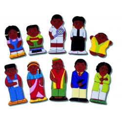 Black family & Friends finger puppet set