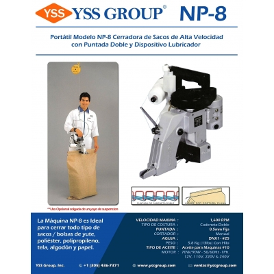 NP-8 Cerradora Portatil de Sacos / NP-8 Bag Closing Machine