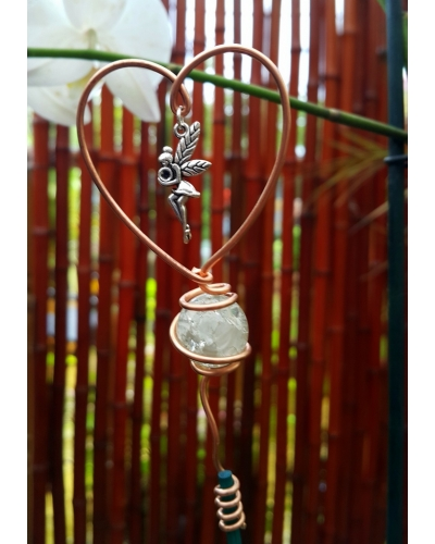 Fairy Heart Stake Glass Ball Copper