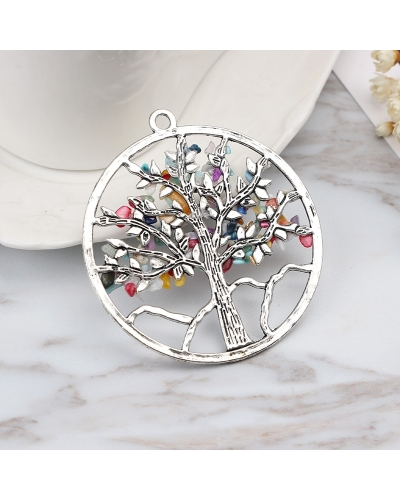 Amulet Crystal Quartz Tree of Life Big Pendant  7 Gemstone