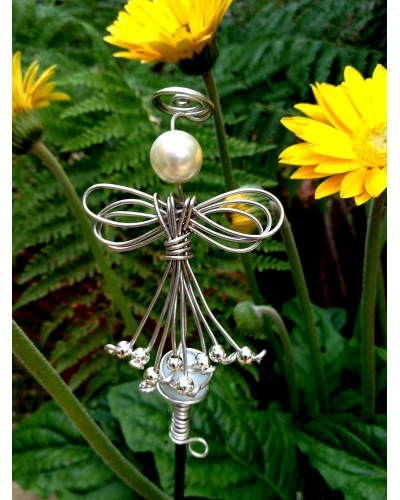 Glass Ball stake with Angel and Silver Beads for your Garden Decoration