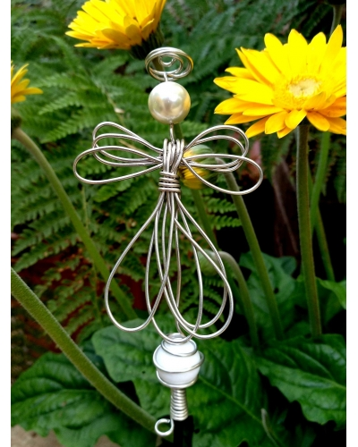 Glass Ball stake with Angel  for your Garden Decoration