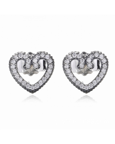 💎Stunning Heart Swirls Stud Earrings Genuine Sterling Silver S925💎