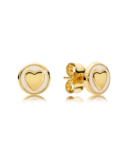 💎 Shine Sweet Statements Stud Earrings White Genuine 18K Gold & Silver 💎