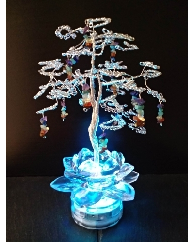 🌻 CHAKRA  Crystal Gemstone Tree Sculpture Silver Plated LED 🌻 🌻