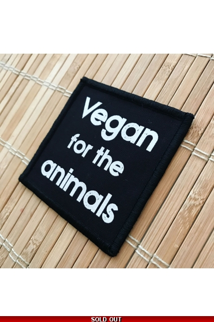 Vegan For The Animals - square, iron on patches.