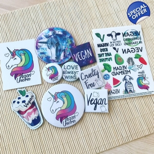 Vegan Unicorn bundle - vegan badges, magnets, temporary tattoos and more. Save £5.95