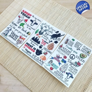 3 for 2 vegan temporary tattoo sets bundle. Save £5!