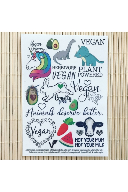 Vegan Unicorn - temporary tattoo set.