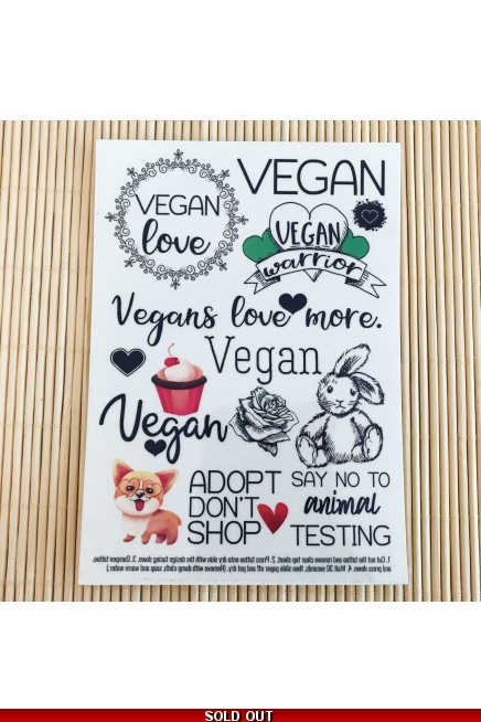 Vegan love - temporary tattoo set. Vegan tattoo. Vegan temporary tattoos. Vega..