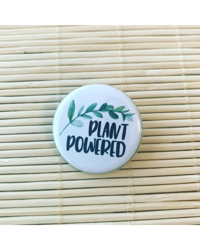 Plant powered - vegan round badge with gloss finish. Vegan friendly. Vegan button. Vegan gift.