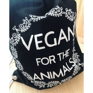 Vegan for the animals - black screen printed cotton drawstring bag. Vegan bag. Vegan backpack. Vegan accessories.
