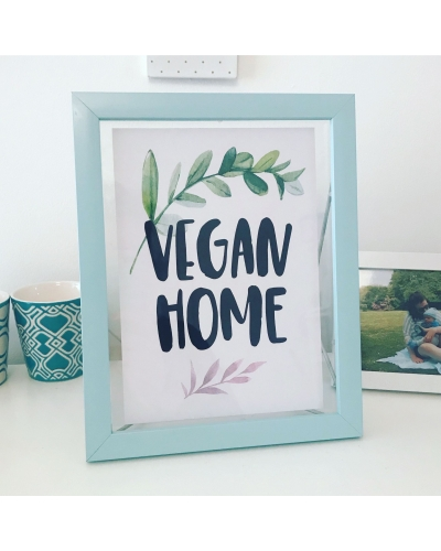 Vegan Home art print - recycled white board. Vegan print. Vegan art print. Vegan home accessories.