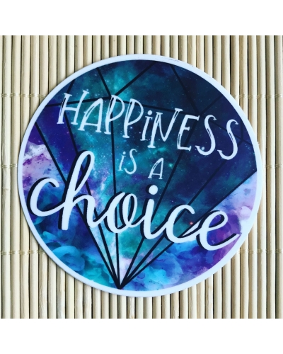 Happiness is a choice. - round vinyl sticker. Vegan friendly. Gratitude journal sticker. Bujo sticker. Water bottle sticker.