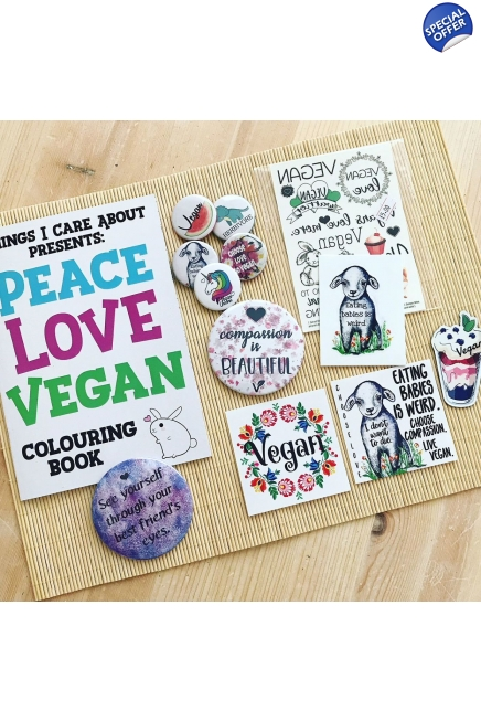 Vegan Birthday Bundle - colouring book, magnets, badges, tattoos and more. Veg..