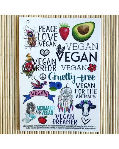 Vegan Dreamer - A6 temporary tattoo set. Vegan temporary tattoos. Vegan transfers. Vegan gift. Vegan mermaid. Vegan gift ideas.