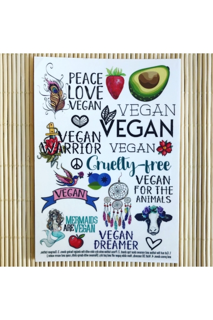 Vegan Dreamer - A6 temporary tattoo set. Vegan temporary tattoos. Vegan transf..