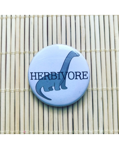 Herbivore grey - round vegan badge with gloss finish. Vegan badge. Vegan button.