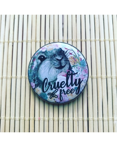 Cruelty free bunny - round vegan badge with gloss finish. Vegan button. Vegan gift ideas. Fish feel pain.