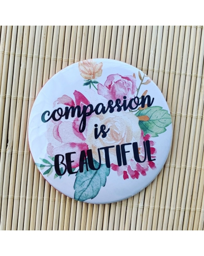 Compassion is beautiful - pocket mirror. Vegan friendly. Vegan gift. Vegan gift ideas.