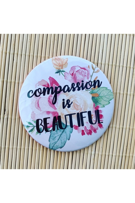 Compassion is beautiful - pocket mirror. Vegan friendly. Vegan gift. Vegan gif..