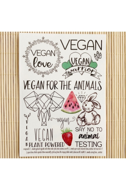 Vegan love - temporary tattoo set. Vegan tattoo. Vegan temporary tattoos. Vegan gift. Vegan gift idea.