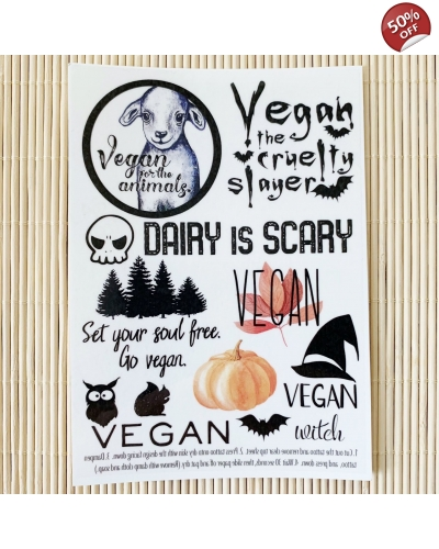 Autumn and Halloween - A6 temporary tattoo set. Vegan temporary tattoos. Vegan Halloween. Vegan gift ideas.