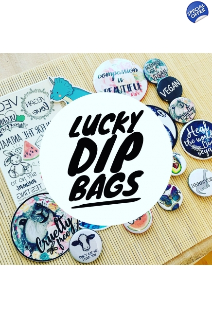 Lucky Dip Bags - mysterious bags full of vegan surprises! Vegan gift ideas, vegan surprise, vegan birthday, veganniversary. Vegan merchandise.