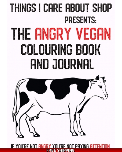 DIGITAL DOWNLOAD The Angry Vegan - colouring book and journal for adults. 14 illustrations to colour. Writing prompts. Gratitude.