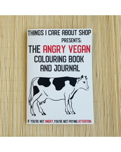 The Angry Vegan - colouring book and journal for adults. NOT suitable for children. 14 illustrations to colour. Writing prompts. Gratitude