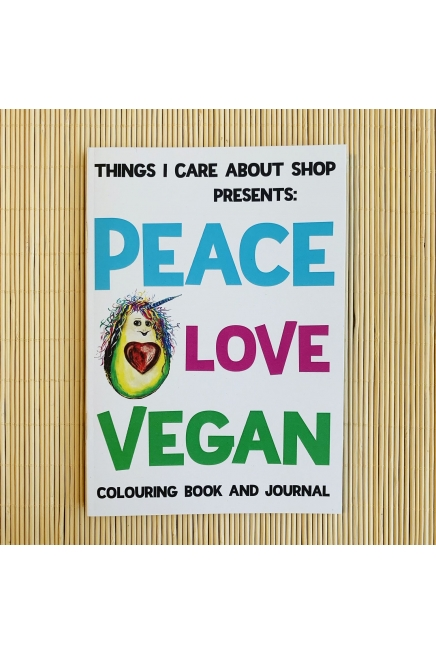 Peace Love Vegan colouring book and journal. 14 illustrations to colour. Writing prompts and gratitude journal. Vegan gift. Vegan Christma