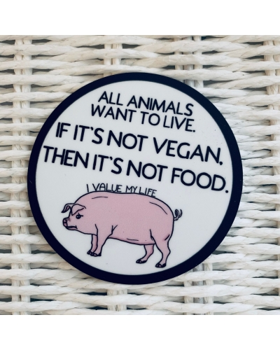 All animals want to live.- vinyl sticker. Vegan sticker. Vegan waterproof sticker. Pig. Piggy.