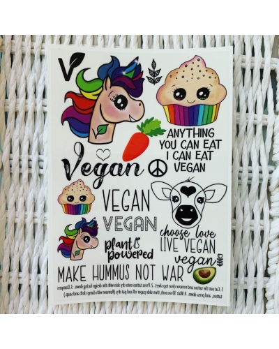 Vegan Unicorn - temporary tattoo set. Vegan temporary tattoos. Vegan transfers. Avocado. Vegan gift ideas.