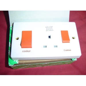 COOKER SWITCH double with 13amp socket 45amp 4520/1