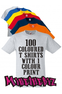 100 Coloured Screen Printed T Shirts