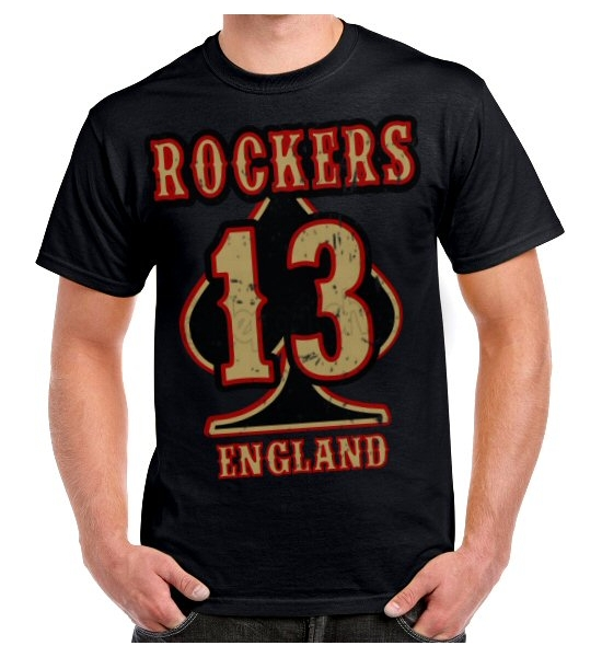 Rockers England BIG 13 Front Print T Shirt - UK P&P Included