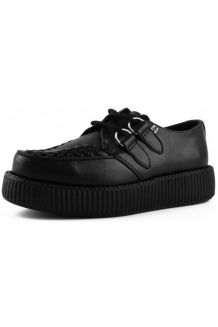 Black Leather Satin Finish, single sole TUK Creepers UK P&P Included