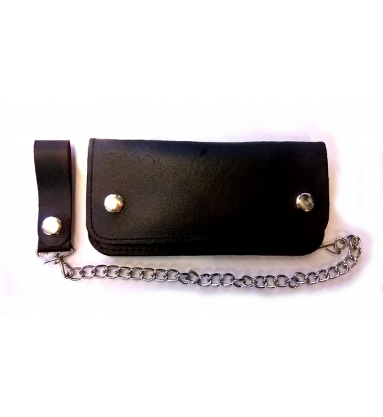 Wallet - Plain leather Biker wallet UK P&P Included