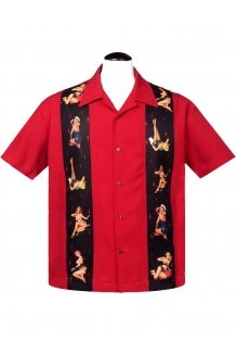 Lounge Shirt, Steady Red Panel Pin Up Shirt UK P..