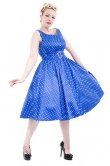 Dress - Blue White Polka Dot Dress: