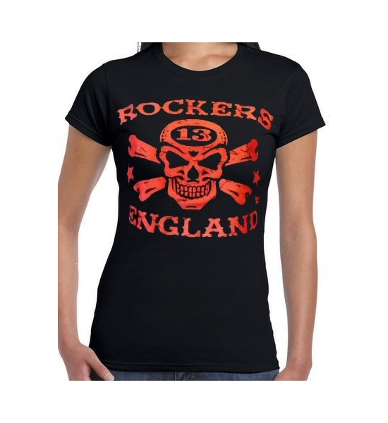 "T-Shirt. Womens Rockers England ""Vince Ray"" Logo 2 Black and Red. Free UK P&P"