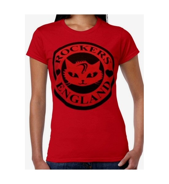 T-Shirt, Red girls cat logo black print. UK P&P Included