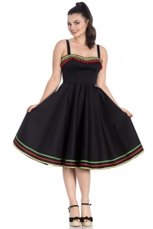 Dress, Black Mexican Style Swing Dress. UK P&P Included