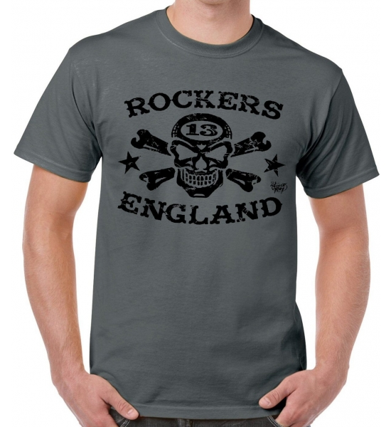 "T Shirt Rockers England ""Vince Ray"" Logo 2 Grey and Black - Free UK P&P"