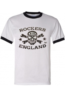 T Shirt Rockers England White Ringer Vince Ray Design.UK P&P Included