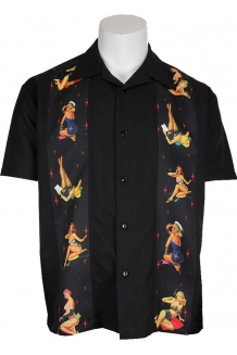 Shirt - Multi Pin Up Black Panel Shirt, UK P&P Included