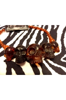 Kreepsville 666 super cool amber colour skull necklace UK P&P Included