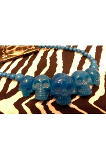 Kreepsville 666 super cool Blue glow in the dark colour skull necklace UK P&P ..