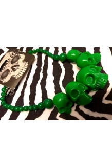 Kreepsville 666 super cool Ghoulish Green colour skull necklace UK P&P Included