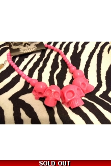 Kreepsville 666 super Hot Pink colour skull necklace UK P&P Included